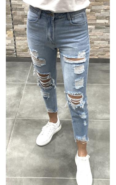 Jeans slim bleu clair avec déchirure