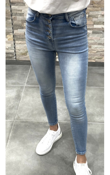Jeans bleu slim délavée basic