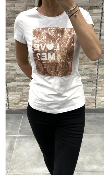 T-shirt avec paillette imprimé Love