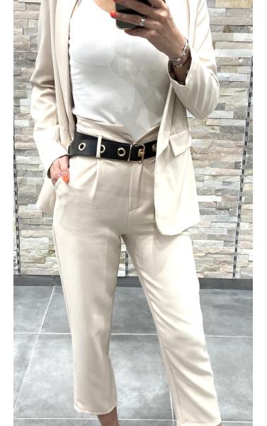 Pantalon fluide taille haute en V