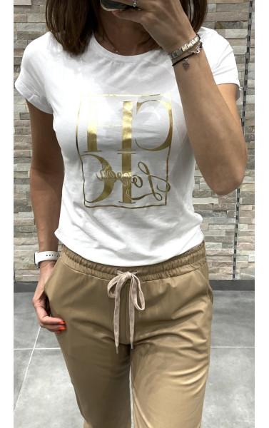 T-shirt avec flocage doré