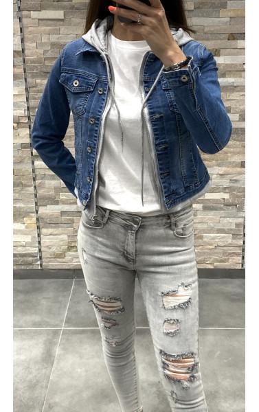 Veste en jeans bi-matière à capuche