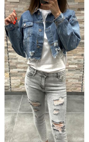Veste en jeans court oversize destroy