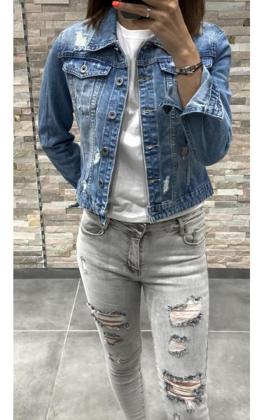 Veste en jeans effet destroy et griffure