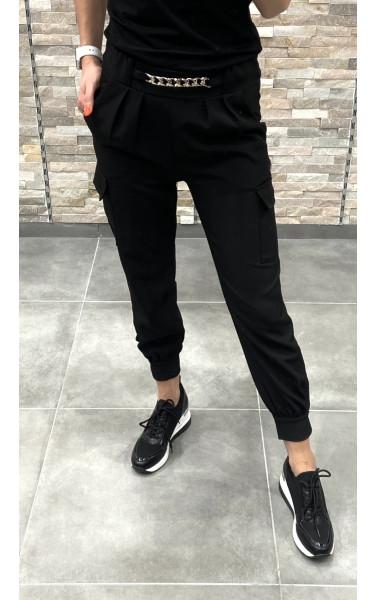 Pantalon cargo stretch avec chaine