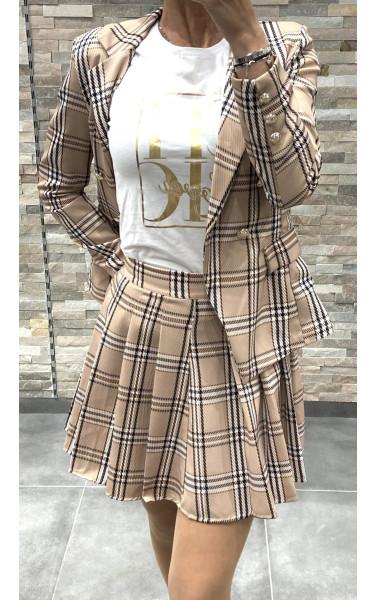 Mini jupe plissée et évasée à carreaux