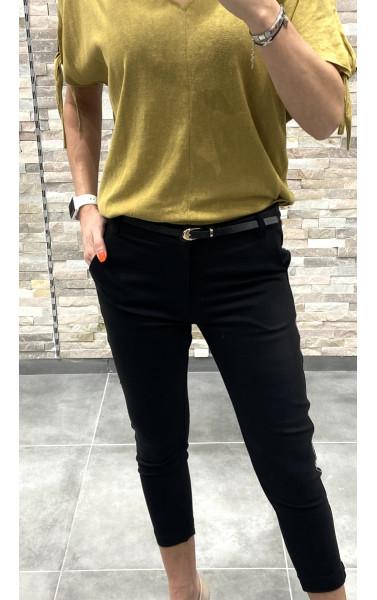 Pantalon cigarette avec bande argentée