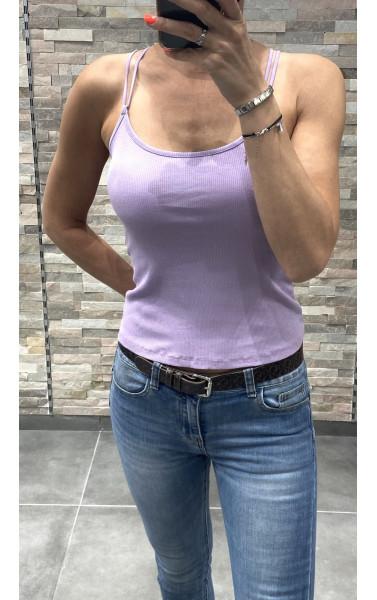 Débardeur côtelée à double bretelles dos croisé