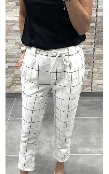 Pantalon chino à carreaux élastique à la taille