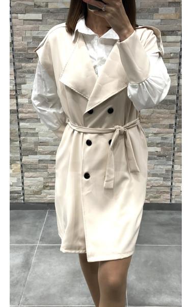 Robe blazer et chemise bi-matière aux manches