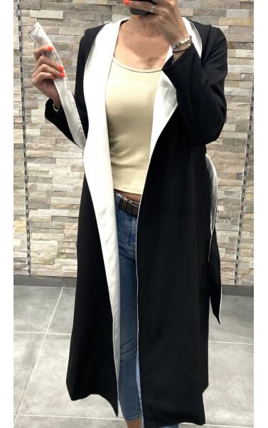 Manteau peignoir bicolor à capuche