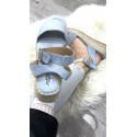 Sandales compensées en suédine à large bride