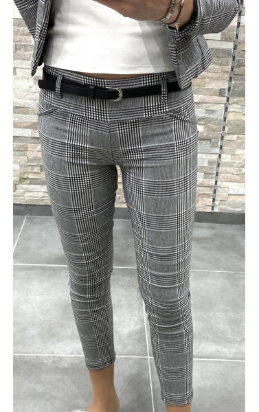 Pantalon stretch à carreaux