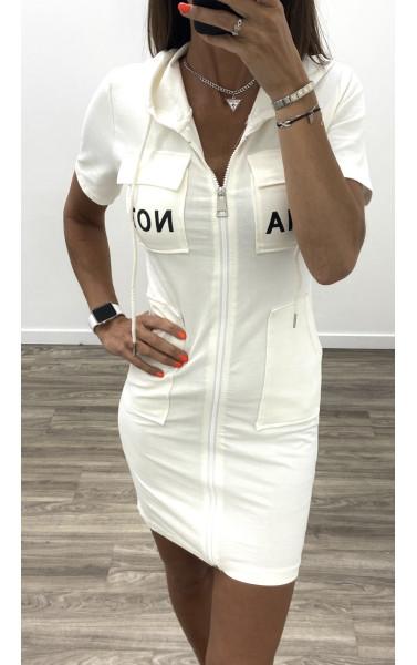 Robe courte blanc à capuche