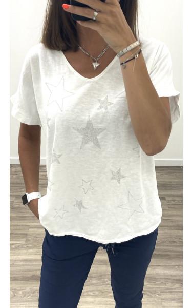 T-shirt oversize col V à motif étoile