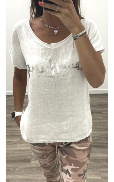 T-shirt oversize col V en jersey de lin