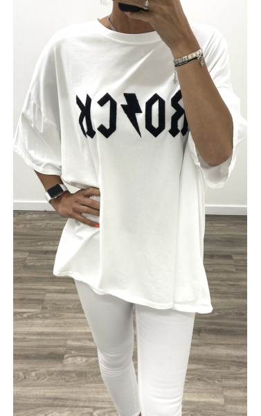 T-shirt oversize avec écriture RO/CK