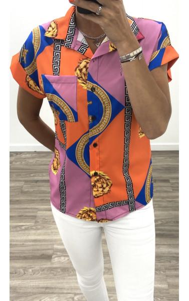 Chemise orange à motif baroque