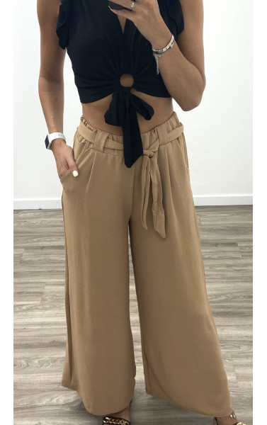 Pantalon fluide à taille haute