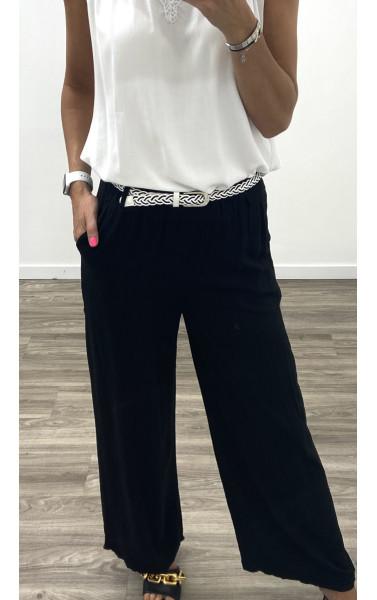 Pantalon fluide en coton accessoirisé d'une ceinture