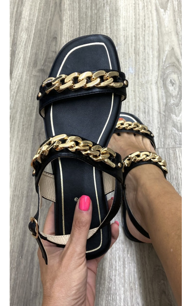 Sandales à double brides avec empiècement maillon
